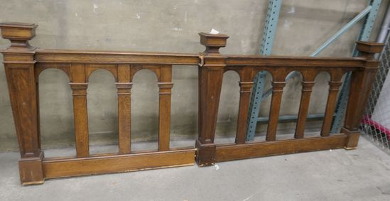 LOT 4: Qty 2 Lengths of Antique Oak Railing/ Banister.