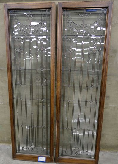 LOT 5: Qty 2 Antique Leaded Glass & Wood Doors.