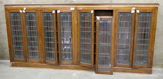 LOT 7: 2-Unit Antique Oak & Pine Bookcase w/ Leaded Glass Doors
