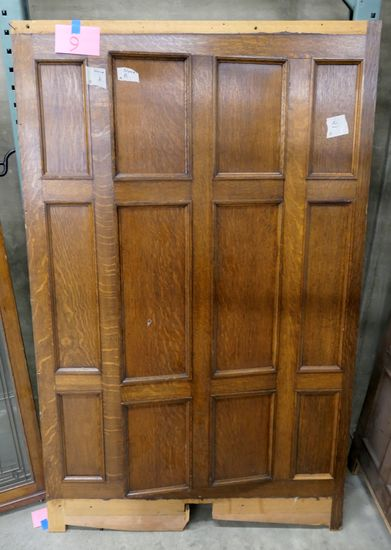 LOT 9: Antique Oak Wall Paneling Section w/ Hidden Door, 1 piece.