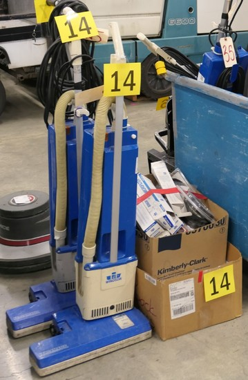 Misc. Vacuums for Parts or Repair, In Blue Bin and on Dolly