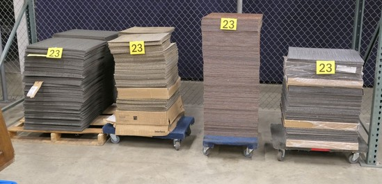 Misc. Carpet Tiles, 4 Colors, Items on Pallet and 4 Dollies