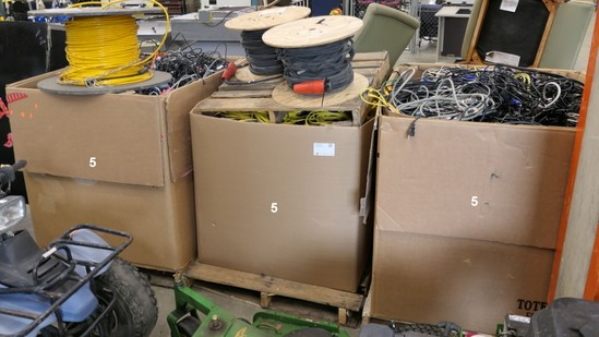 Misc. Cords & Cables, 3 Gaylords & 3 Spools, Approx. 2,800 lb. Gross Wt.