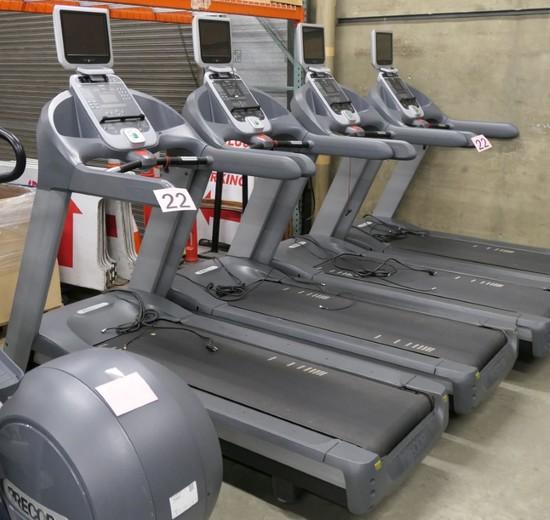 Treadmills: Precor 956i W/Cardio Theater Monitors, 4 Items on Dollies