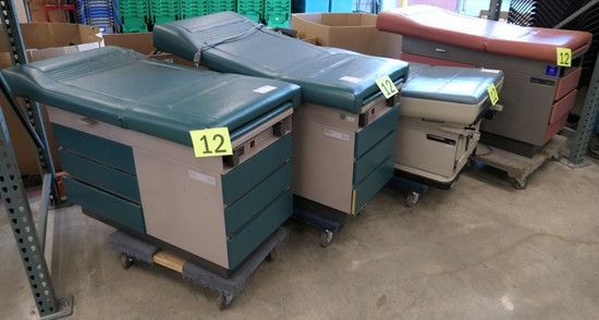 Exam Beds: (3) Midmark Ritter 104, (1) Midmark 405, 4 Items on Dollies