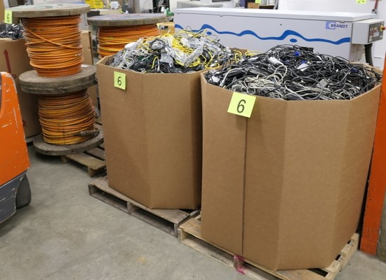 Misc. Cords & Cables: 2 Gaylords and 1 Pallet of Spools, Approx. 2,000 lbs.