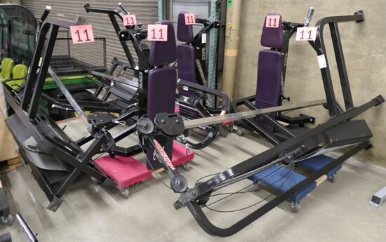 Weight Machines and Benches: Life Fitness SM11, 3 Items on 6 Dollies