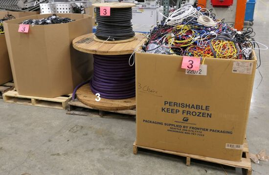 Misc. Cords & Cables: 2 Gaylords and 1 Pallet of Spools