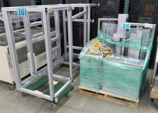 Liquid Handling Robot Parts: CyBio, Misc. Items on 2 Dollies and 1 Pallet