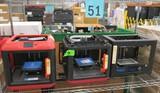 3D Printers:  Flashforge Finder (2), Flashforge Creator Pro, 3 Items on Shelf
