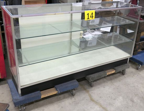 "Display Cabinet: 70""x20""x38"", Item on 2 Dollies"