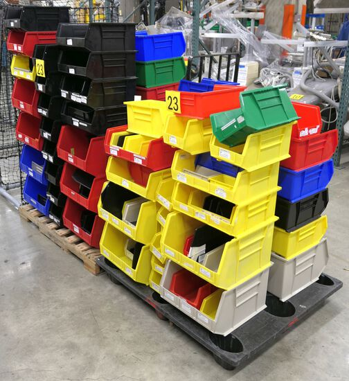 Misc. Plastic Bins: Various Sizes and Colors, Items on 2 Pallets