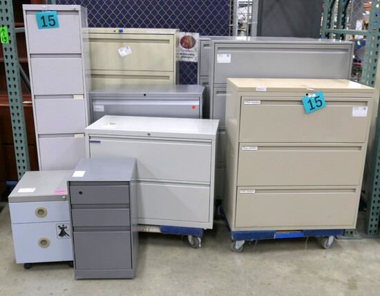 Filing Cabinets, Group A: 9 Items on Dollies