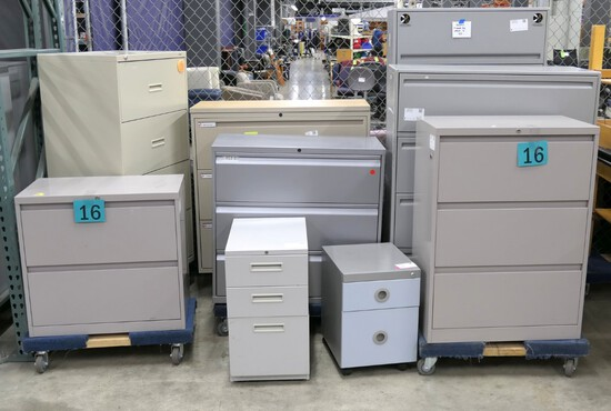 Filing Cabinets, Group B: 9 Items on Dollies