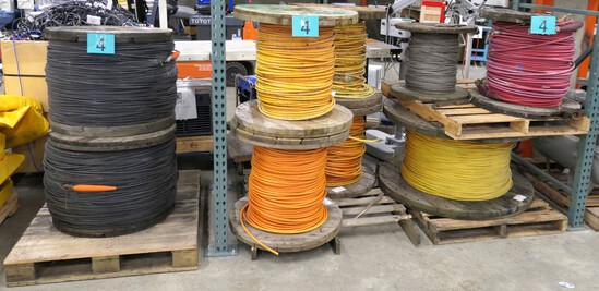 Mooring Cable: Jacketed Spools (8), Bare Spool (1), Items on 4 Pallets