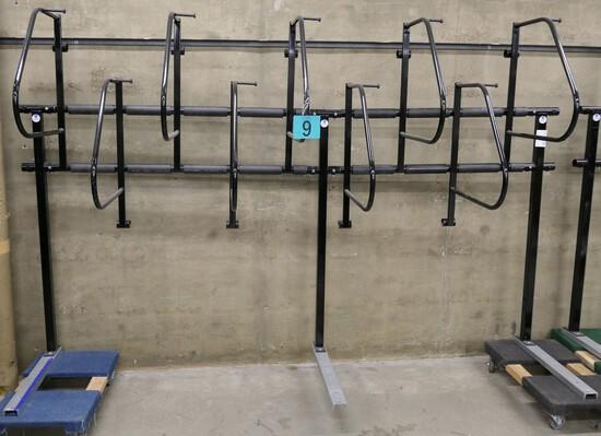 Bike Rack: Dero Ultra Space Saver, Vertical 9 Bike, Item on 2 Dollies