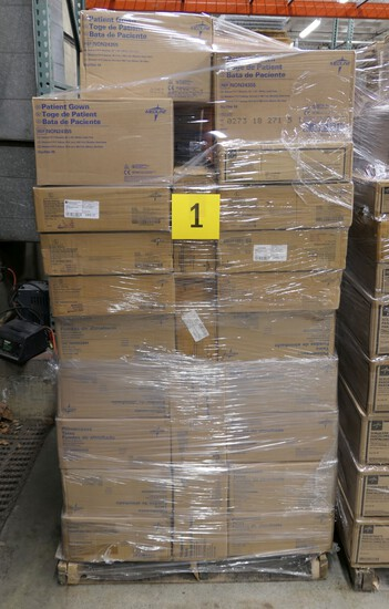 Healthcare Consumables Group A: Pillowcases, Scrub Shirts, Patient Gowns. Items on Pallet.