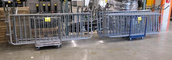 Barricades: Galvanized Steel, 8' & 6' Lengths. 14 Items on 2 Carts.