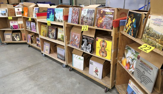 Music: Classical Vinyl Records, 40 Boxes, 1500 Albums Estimated, on 5 Carts