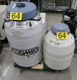 Liquid Nitrogen Transfer Systems: Thermo Scientific & Forma Scientific Cryomed. 2 Items on Dolly.