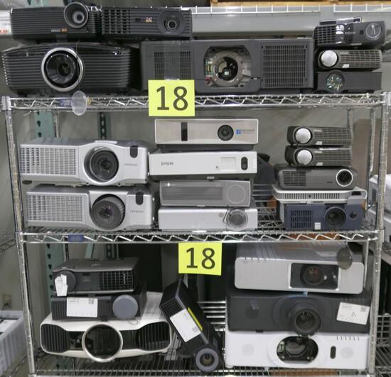 Projectors: Epson, Hitachi, Panasonic, Dell, & Others, Items on 3 Shelves