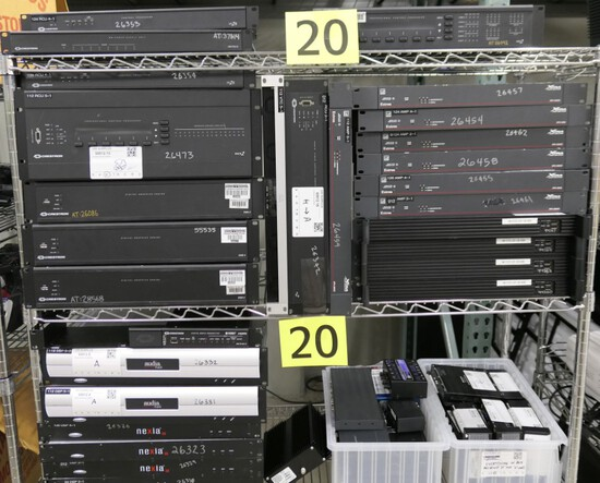 Audio/Visual Equipment: Crestron, Extron, ViewCast, Nexia, & Others, Items on 3 Shelves