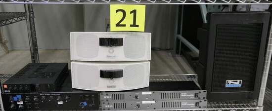 Audio/Visual Equipment: Speakers, Amplifiers, & Others, Items on Shelf