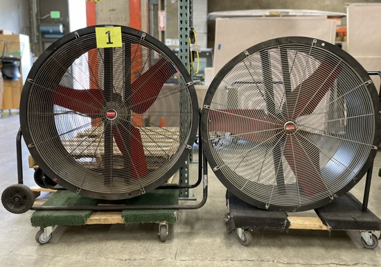 "Industrial 36"" Fans: Dayton 3C674F & 3C674H, Items on 2 Dollies"
