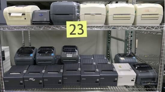 Printers: Zebra, Epson, & Others, Items on 2 Shelves