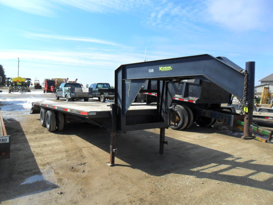 2008 Koehn 5th Wheel Trailer, 20ft Deck with 5ft beaver tail and Ramps