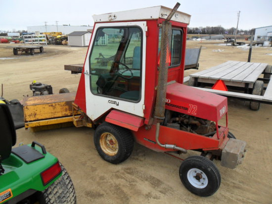 Grounds Master 72 lawn mower, W/ Broom and Cozy heated cab, Hydrosta trans, 4 cyl. Gas