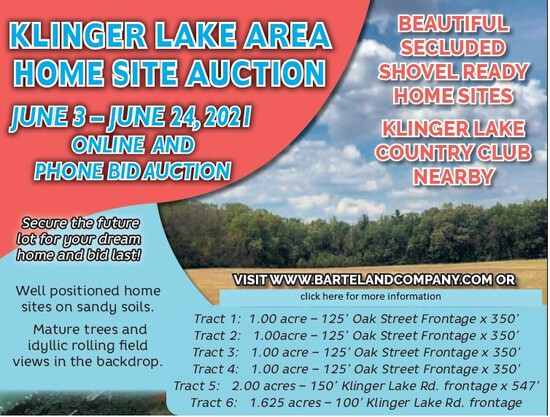 Tract 5:   2.00 ac; 150' Klinger Lake Rd frontage x 547'