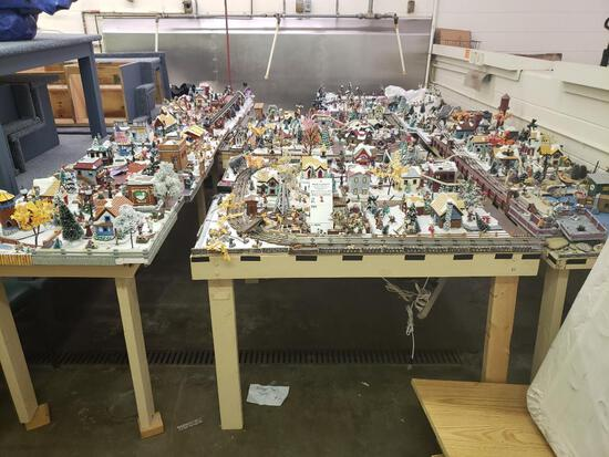 O gauge train set with tables and all Christmas village parts as pictured.