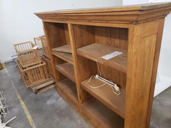 Wooden antique bookcase.