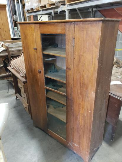 Antique Wooden storage cabinet shelf.