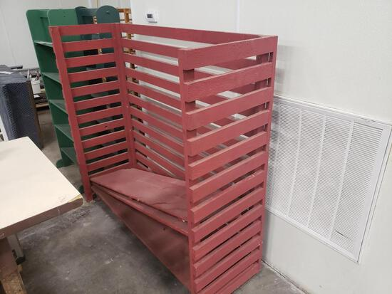 Red shelving unit.