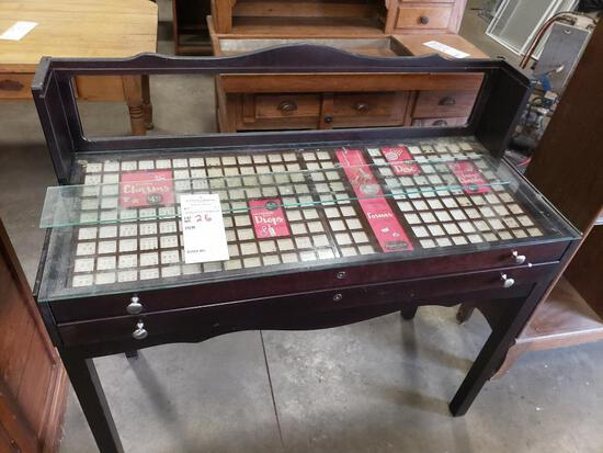 Display case table.