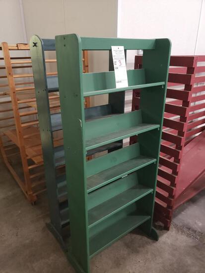 Qty 2 - Green shelving unit.