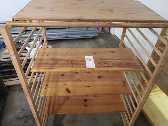 Wood shelving unit on wheels