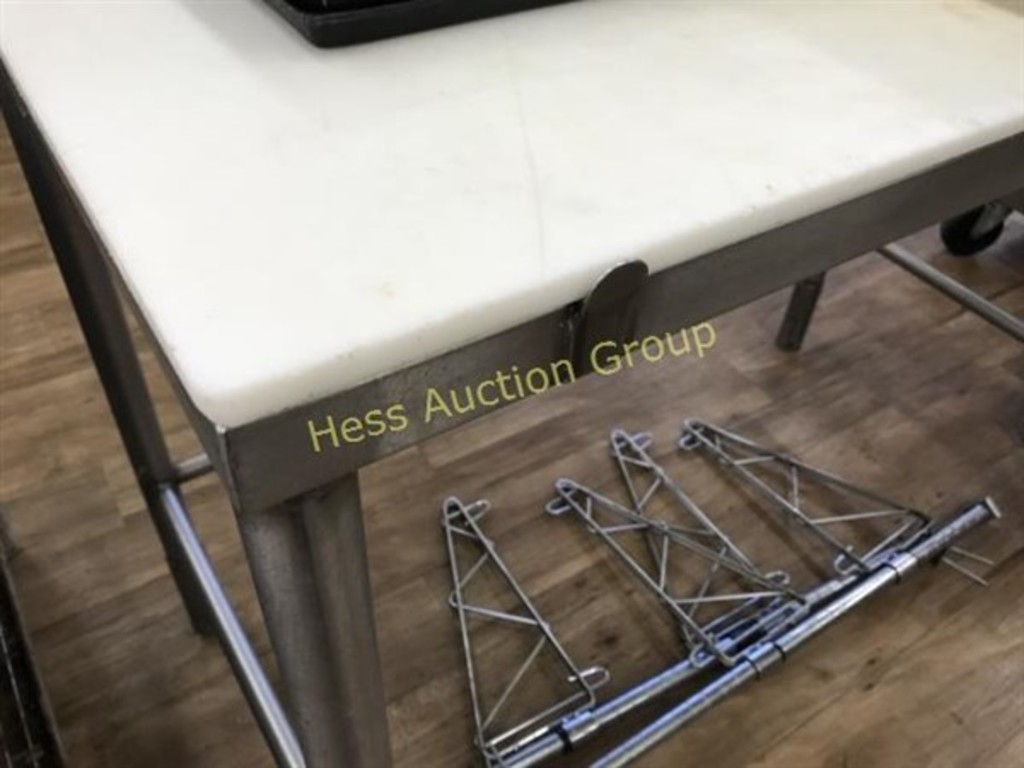 Stainless Steel Table With But Auctions Online Proxibid - Stainless steel table with butcher block top