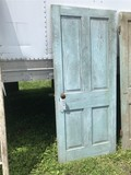 Early Yellow Pine Door with Original Blue Paint