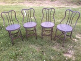 4 Metal Ice Cream  Parlor Chairs