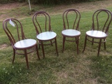 4 Wooden Hoop Back Ice Cream Parlor Chairs