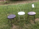 Set of 3 Metal Wire Ice Cream Parlor Chairs