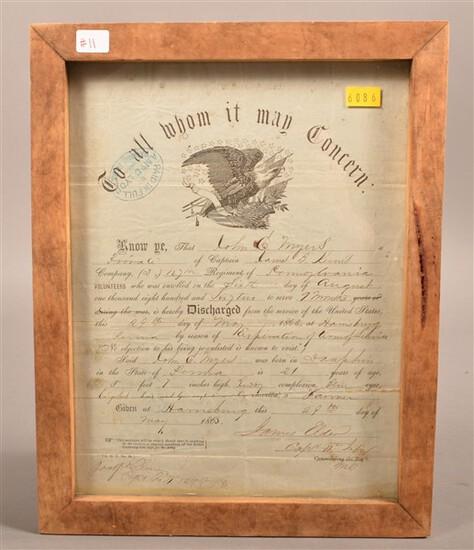 Framed Civil War Discharge