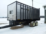 H&S 22' wide body forage box on trailer w/flotation rubber