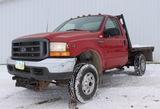 2001 Ford F-250 Red 4x4 pickup w/reg. cab, 5.3L V-8, auto., flatbed, selling w/Meyers snow plow, 85K