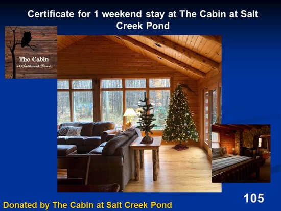 Gift Certificate for 1 weekend stay at The Cabin at Salt Creek Pond