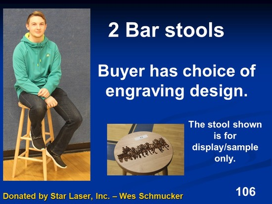 2 bar stools with your choice of engraving design