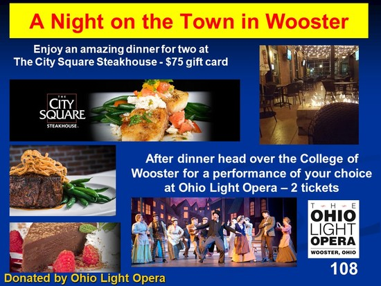 2 Opera Tickets with a $75.00 gift card to City Square Steakhouse